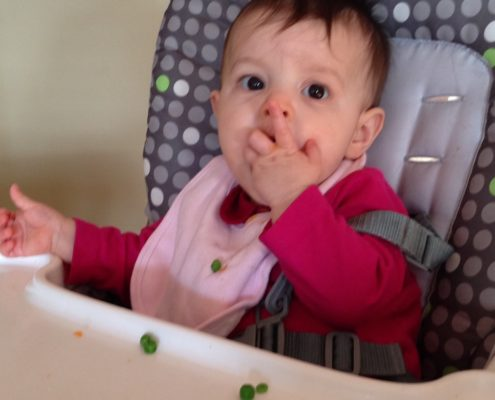 Betsy with peas